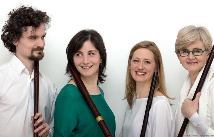The Attaignant Consort. Photo by Ola Renska Left to right; Joao Santos, Giuditta Isoldi, Amanda Markwick, and Kate Clark.